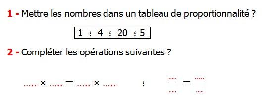 Exercices appliques et de exercices corriges Maths 5ème La proportionnalité Mettre les nombres dans un tableau de proportionnalité compléter les opérations suivantes.