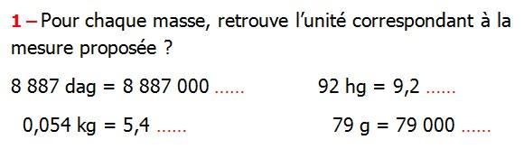 Exercices appliques et exercices corriges de Maths 6ème Grandeurs et mesures longueurs, masses, durées Pour chaque masse, retrouve l'unité correspondant à la       mesure proposée 8 887 dag  92 hg  0,054 kg  79 g