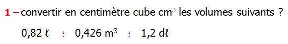 Exercices appliques et de exercices corriges Maths 5ème les volumes changements d'unités de mesure Mètre cube Décimètre cube Centimètre cube Millimètre cube hectolitre décalitre litre décilitre centilitre millilitre Convertir en centimètre cube cm3 les volumes suivants 1,2 dℓ      0,426 m3.  0,82 ℓ