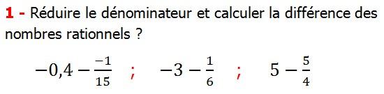 Exercices corriges cours les nombres rationnels la somme et la différence maths 4éme calcul la somme et la différence de deux nombres rationnels calcul plusieurs nombres rationnels calcul la somme et la différence des nombres fractionnaire calcul la somme et la différence des nombres relatifs en écriture décimaux réduire le dénominateur des nombres rationnels Réduire le dénominateur et calculer la différence des nombres rationnels