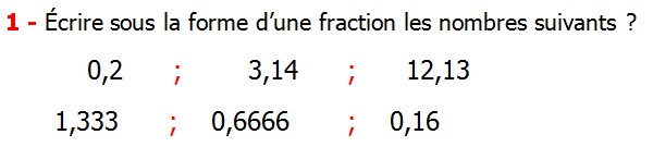 Exercices corriges cours introduction aux nombres rationnels maths 3éme définition les nombres rationnels relatifs négatifs et positifs simplifier le nombre rationnel  et décomposer un nombre rationnel et réduire le dénominateur commun de deux nombre rationnels et comparer deux nombres rationnels Écrire sous la forme d'une fraction les nombres suivants