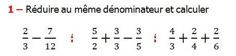 Exercices appliques et exercices corriges de Maths 6ème - les Fractions addition et soustraction Réduire au même dénominateur et Ordonner et simplifier et comparer les fractions . Fractions addition et soustraction , Fractions multiplication et division