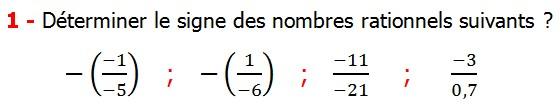 Exercices corriges cours les nombres rationnels maths 4éme définition les nombres rationnels relatifs négatifs et positifs simplifier le nombre rationnel  et décomposer un nombre rationnel et réduire le dénominateur commun de deux nombre rationnels et comparer deux nombres rationnels Déterminer le signe des nombres rationnels suivants
