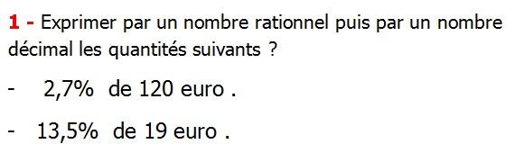 Exercices corriges cours les nombres rationnels maths 4éme définition les nombres rationnels relatifs négatifs et positifs simplifier le nombre rationnel  et décomposer un nombre rationnel et réduire le dénominateur commun de deux nombre rationnels et comparer deux nombres rationnels Exprimer par un nombre rationnel puis par un nombre décimal les quantités suivants  2,7%  de 120 euro 13,5%  de 19 euro