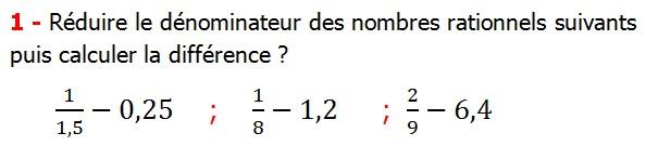 Exercices corriges cours les nombres rationnels la somme et la différence maths 4éme calcul la somme et la différence de deux nombres rationnels calcul plusieurs nombres rationnels calcul la somme et la différence des nombres fractionnaire calcul la somme et la différence des nombres relatifs en écriture décimaux réduire le dénominateur des nombres rationnels Réduire le dénominateur des nombres rationnels suivants puis calculer la différence