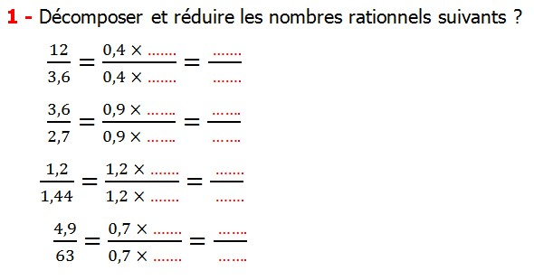 Exercices corriges cours introduction aux nombres rationnels maths 3éme définition les nombres rationnels relatifs négatifs et positifs simplifier le nombre rationnel  et décomposer un nombre rationnel et réduire le dénominateur commun de deux nombre rationnels et comparer deux nombres rationnels Décomposer et réduire les nombres rationnels suivants