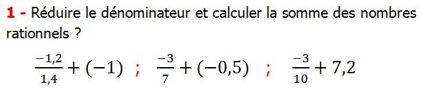 Exercices corriges cours les nombres rationnels la somme et la différence maths 4éme calcul la somme et la différence de deux nombres rationnels calcul plusieurs nombres rationnels calcul la somme et la différence des nombres fractionnaire calcul la somme et la différence des nombres relatifs en écriture décimaux réduire le dénominateur des nombres rationnels Réduire le dénominateur et calculer la somme des nombres rationnels
