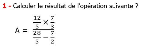 Exercices corriges cours mathématique les nombres rationnels la multiplication et la division maths 3éme calcul le produit et le quotient Calculer le résultat de l'opération suivante