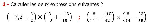 Exercices corriges cours mathématique les nombres rationnels la multiplication et la division maths 3éme calcul le produit et le quotient Calculer les deux expressions suivantes