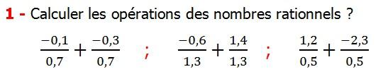 Exercices corriges cours les nombres rationnels la somme et la différence maths 4éme calcul la somme et la différence de deux nombres rationnels calcul plusieurs nombres rationnels calcul la somme et la différence des nombres fractionnaire calcul la somme et la différence des nombres relatifs en écriture décimaux réduire le dénominateur des nombres rationnels Calculer les opérations des nombres rationnels