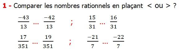 Exercices corriges cours introduction aux nombres rationnels maths 3éme définition les nombres rationnels relatifs négatifs et positifs simplifier le nombre rationnel  et décomposer un nombre rationnel et réduire le dénominateur commun de deux nombre rationnels et comparer deux nombres rationnels Comparer les nombres rationnels en plaçant inférieur ou supérieur