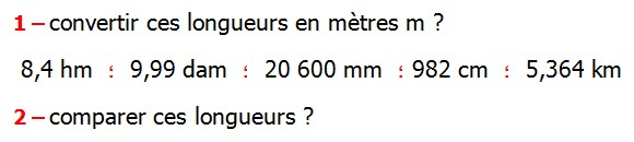 Exercices appliques et exercices corriges de Maths 6ème Grandeurs et mesures longueurs, masses, durées Convertir ces longueurs en mètres m 8,4 hm  9,99 dam  20 600 mm 982 cm  5,364 km  comparer ces longueurs