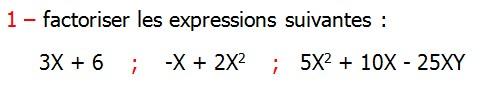 Exercices corriges de Maths 3ème Cours Mathématique sur les écritures littérales Développement Factorisation Identités Remarquables la double distributivité factoriser les expressions suivantes 3X + 6    ;    -X + 2X2    ;   5X2 + 10X - 25XY