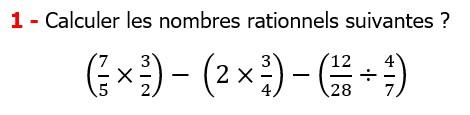 Exercices corriges cours mathématique les nombres rationnels la multiplication et la division maths 3éme calcul le produit et le quotient Calculer les nombres rationnels suivants