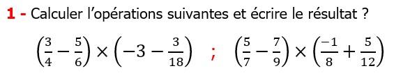 Exercices corriges cours mathématique les nombres rationnels la multiplication et la division maths 3éme calcul le produit et le quotient Calculer l'opérations suivantes et écrire le résultat