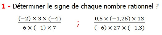 Exercices corriges cours introduction aux nombres rationnels maths 3éme définition les nombres rationnels relatifs négatifs et positifs simplifier le nombre rationnel  et décomposer un nombre rationnel et réduire le dénominateur commun de deux nombre rationnels et comparer deux nombres rationnels Déterminer le signe de chaque nombre rationnel