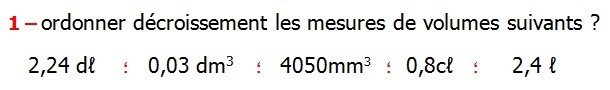 Exercices appliques et de exercices corriges Maths 5ème les volumes changements d'unités de mesure Mètre cube Décimètre cube Centimètre cube Millimètre cube hectolitre décalitre litre décilitre centilitre millilitre Ordonner décroissement les mesures de volumes suivants 2,4 ℓ   0,8cℓ 4050mm3  0,03 dm3 2,24 dℓ