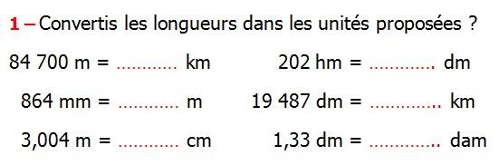 Exercices appliques et exercices corriges de Maths 6ème Grandeurs et mesures longueurs, masses, durées Convertis les longueurs dans les unités proposées 84 700 m  202 hm  864 mm  19 487 dm  3,004 m  1,33 dm
