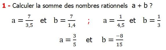 Exercices corriges cours les nombres rationnels la somme et la différence maths 4éme calcul la somme et la différence de deux nombres rationnels calcul plusieurs nombres rationnels calcul la somme et la différence des nombres fractionnaire calcul la somme et la différence des nombres relatifs en écriture décimaux réduire le dénominateur des nombres rationnels Calculer la somme des nombres rationnels  a + b