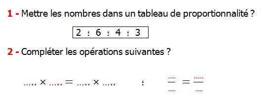 Exercices appliques et exercices corriges de Maths 6ème - La proportionnalité 2 le tableau de proportionnalité une quatrième proportionnelle le coefficient de proportionnalité la règle de trois les produits en croix Mettre les nombres dans un tableau de proportionnalité compléter les opérations suivantes.