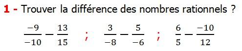 Exercices corriges cours les nombres rationnels la somme et la différence maths 4éme calcul la somme et la différence de deux nombres rationnels calcul plusieurs nombres rationnels calcul la somme et la différence des nombres fractionnaire calcul la somme et la différence des nombres relatifs en écriture décimaux réduire le dénominateur des nombres rationnels Trouver la différence des nombres rationnels