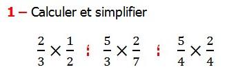 Exercices appliques et exercices corriges de Maths 6ème - les Fractions multiplication et division Réduire au même dénominateur et Ordonner et simplifier et comparer les fractions . Fractions addition et soustraction , Fractions multiplication et division