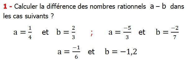 Exercices corriges cours les nombres rationnels la somme et la différence maths 4éme calcul la somme et la différence de deux nombres rationnels calcul plusieurs nombres rationnels calcul la somme et la différence des nombres fractionnaire calcul la somme et la différence des nombres relatifs en écriture décimaux réduire le dénominateur des nombres rationnels Calculer la différence des nombres rationnels  a – b  dans les cas suivants