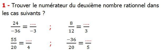 Exercices corriges cours les nombres rationnels maths 4éme définition les nombres rationnels relatifs négatifs et positifs simplifier le nombre rationnel  et décomposer un nombre rationnel et réduire le dénominateur commun de deux nombre rationnels et comparer deux nombres rationnels Trouver le numérateur du deuxième nombre rationnel dans les cas suivants