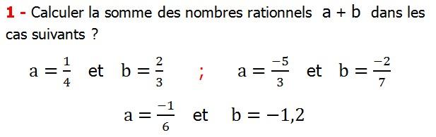 Exercices corriges cours les nombres rationnels la somme et la différence maths 4éme calcul la somme et la différence de deux nombres rationnels calcul plusieurs nombres rationnels calcul la somme et la différence des nombres fractionnaire calcul la somme et la différence des nombres relatifs en écriture décimaux réduire le dénominateur des nombres rationnels Calculer la somme des nombres rationnels  a + b  dans les cas suivants