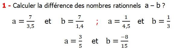 Exercices corriges cours les nombres rationnels la somme et la différence maths 4éme calcul la somme et la différence de deux nombres rationnels calcul plusieurs nombres rationnels calcul la somme et la différence des nombres fractionnaire calcul la somme et la différence des nombres relatifs en écriture décimaux réduire le dénominateur des nombres rationnels Calculer la différence des nombres rationnels  a – b