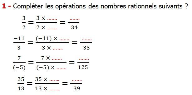 Exercices corriges cours introduction aux nombres rationnels maths 3éme définition les nombres rationnels relatifs négatifs et positifs simplifier le nombre rationnel  et décomposer un nombre rationnel et réduire le dénominateur commun de deux nombre rationnels et comparer deux nombres rationnels Compléter les opérations des nombres rationnels suivants